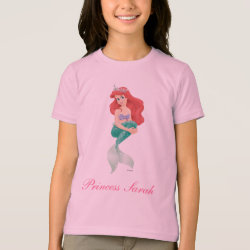 Girls' American Apparel Fine Jersey T-Shirt with Ariel Under The Sea - The Little Mermaid design
