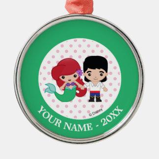 Ariel and Prince Eric Emoji Add Your Name Metal Ornament