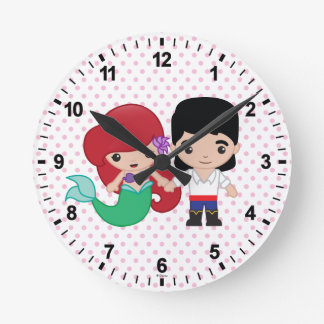 Ariel and Prince Eric Emoji Round Clock
