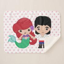 Ariel and Prince Eric Emoji Sherpa Blanket