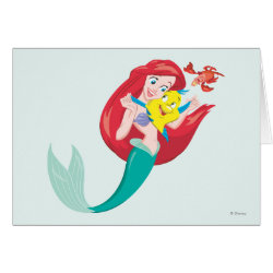 Greeting Card with Ariel with friends Flounder & Sebastian design