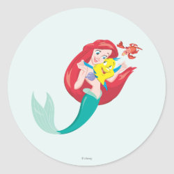 Round Sticker with Ariel with friends Flounder & Sebastian design