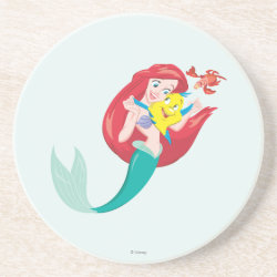 Sandstone Drink Coaster with Ariel with friends Flounder & Sebastian design