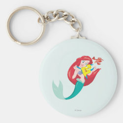 Ariel with friends Flounder & Sebastian Basic Button Keychain