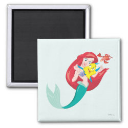 Square Magnet with Ariel with friends Flounder & Sebastian design