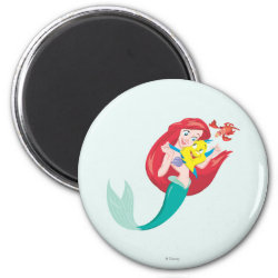 Round Magnet with Ariel with friends Flounder & Sebastian design