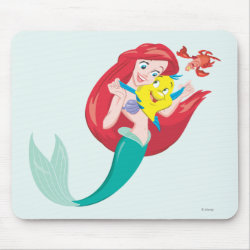 Ariel with friends Flounder & Sebastian Mousepad