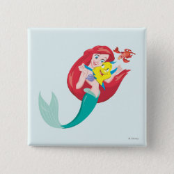 Ariel with friends Flounder & Sebastian Square Button