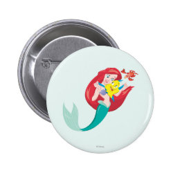 Round Button with Ariel with friends Flounder & Sebastian design
