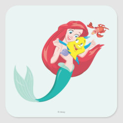 Square Sticker with Ariel with friends Flounder & Sebastian design