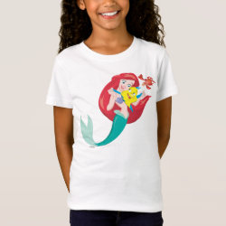Girls' Fine Jersey T-Shirt with Ariel with friends Flounder & Sebastian design