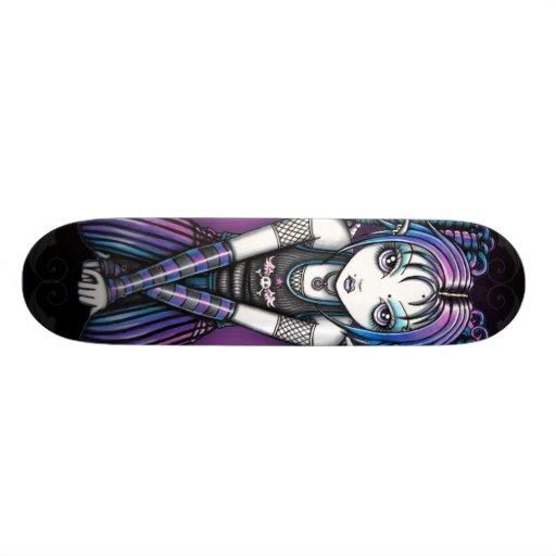 Ariel Gothic Big Eyed Emo Angel Custom Skate Board