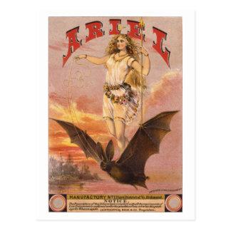 Ariel on a Bat Postcard