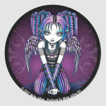 angel, emo, cute, pink, purple, wings, gothic, faery, faerie, fae, fairies, fairy, myka, jelina, art, Sticker with custom graphic design