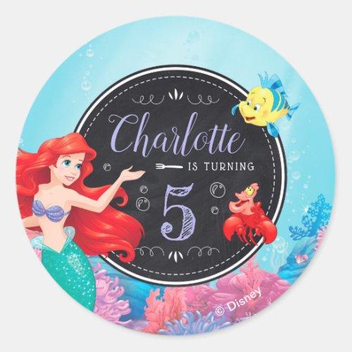 Ariel  The Little Mermaid _ Chalkboard Classic Round Sticker