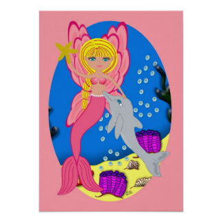Ariel the Pink Merfaery and Dolphin Poster