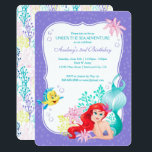 """Ariel   Under the Sea Adventure Birthday Card<br><div class=""""desc"""">Invite all your friends and family to your Little Mermaid themed birthday celebration with these super cute Birthday invitations.</div>"""