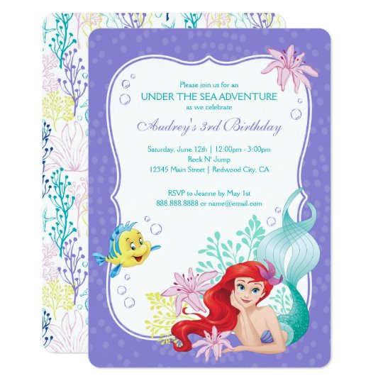 ariel under the sea adventure birthday card - Disney Princess Party Invitations