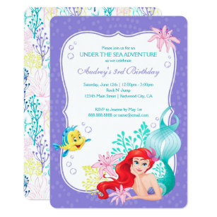 Disney cards greeting photo cards zazzle ariel under the sea adventure birthday invitation filmwisefo
