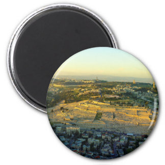 Ariel View of the Mount of Olives Jersalem Israel 2 Inch Round Magnet
