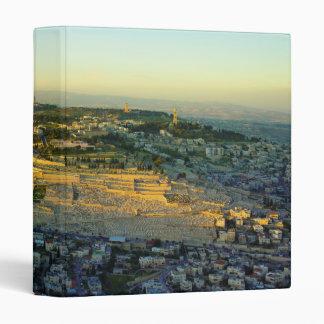 Ariel View of the Mount of Olives Jersalem Israel Vinyl Binder