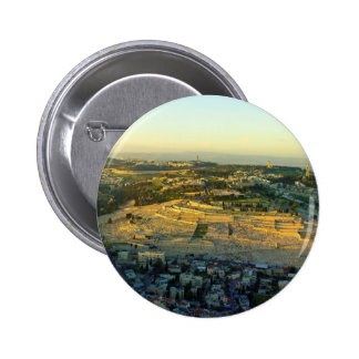 Ariel View of the Mount of Olives Jersalem Israel Pinback Buttons