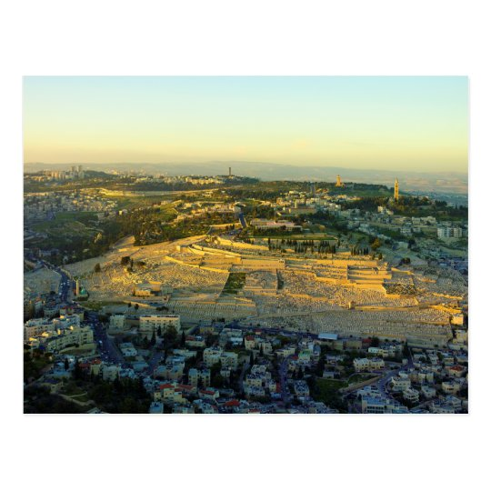 Ariel View of the Mount of Olives Jersalem Israel Postcard