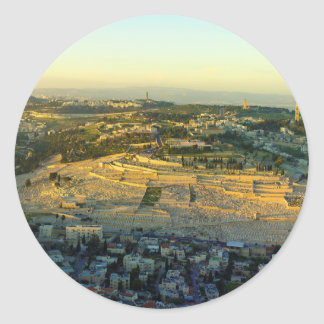 Ariel View of the Mount of Olives Jersalem Israel Round Sticker