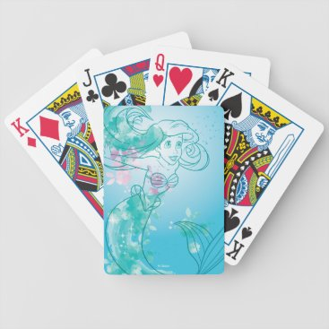 Disney Themed Ariel   Watercolor Outline Bicycle Playing Cards