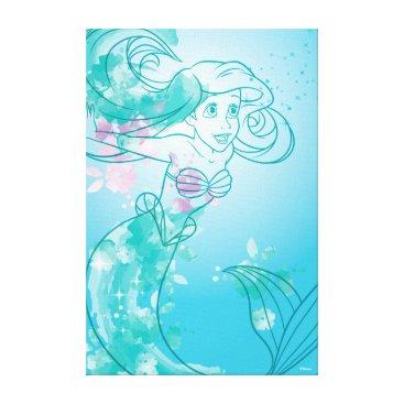 Disney Themed Ariel   Watercolor Outline Canvas Print