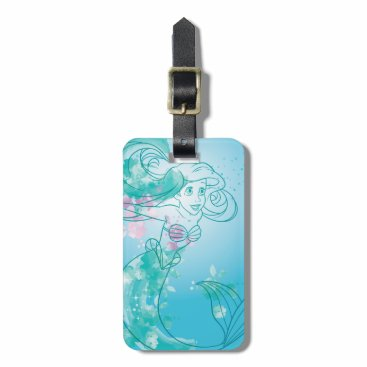 Disney Themed Ariel   Watercolor Outline Luggage Tag