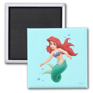 Ariel with Bubbles 2 Inch Square Magnet