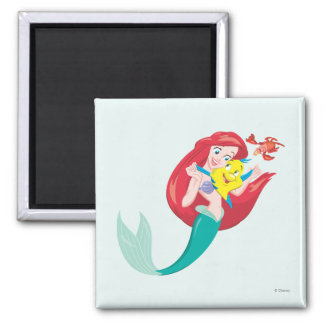 Ariel y amigos imán cuadrado