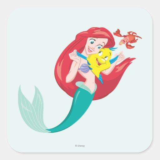 Ariel y amigos pegatina cuadrada