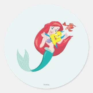 Ariel y amigos pegatina redonda