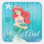 Ariel y castillo calcomanias cuadradas