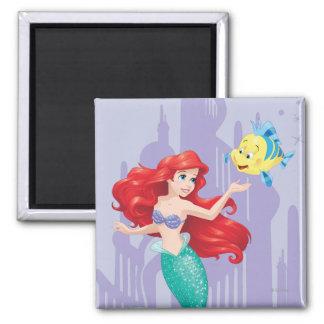 Ariel y platija imán cuadrado