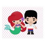 Ariel y príncipe Eric Emoji Tarjeta Postal