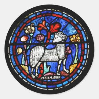 Aries - astrología - vitrales góticos - etiqueta redonda
