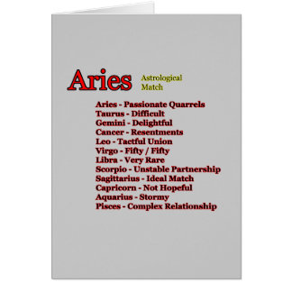 Aries Astrological Match The MUSEUM Zazzle Gifts Card