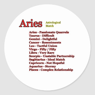 Aries Astrological Match The MUSEUM Zazzle Gifts Classic Round Sticker