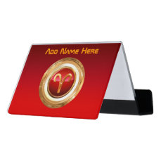 Aries Astrological Sign Desk Business Card Holder