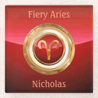 Aries Astrological Sign Glass Coaster