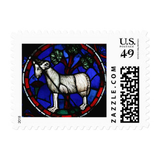 Aries - Astrology - Gothic Stained Glass Windows - Postage