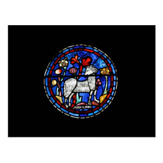 Aries - Astrology - Gothic Stained Glass Windows - Postcard