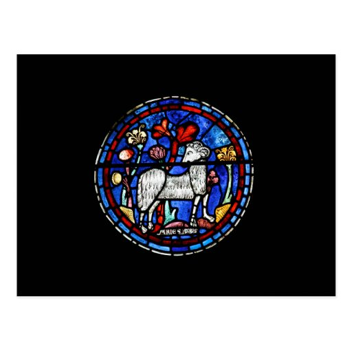 Aries - Astrology - Gothic Stained Glass Windows - Post Cards