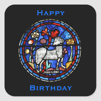 Aries - Astrology - Gothic Stained Glass Windows - Square Sticker