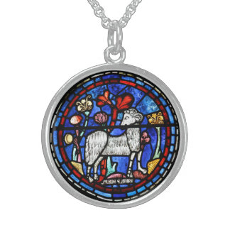 Aries - Astrology - Gothic Stained Glass Windows - Sterling Silver Necklace