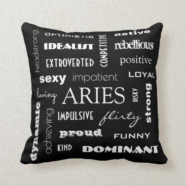 Beach Themed Aries Astrology Throw Pillow