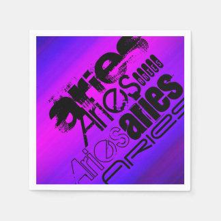 Aries; Azul violeta y magenta vibrantes Servilleta Desechable
